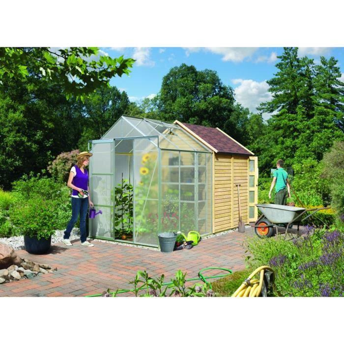 Abri de jardin bois 1 9 m2 avec serre polycarbo achat vente abri jardin chalet abri de for Abri de jardin en bois destockage