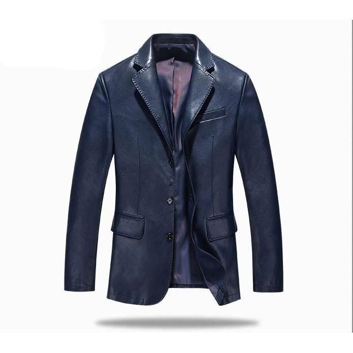 blazer en cuir pu homme d ge moyen haute qualit de style d contract bleu royal achat. Black Bedroom Furniture Sets. Home Design Ideas