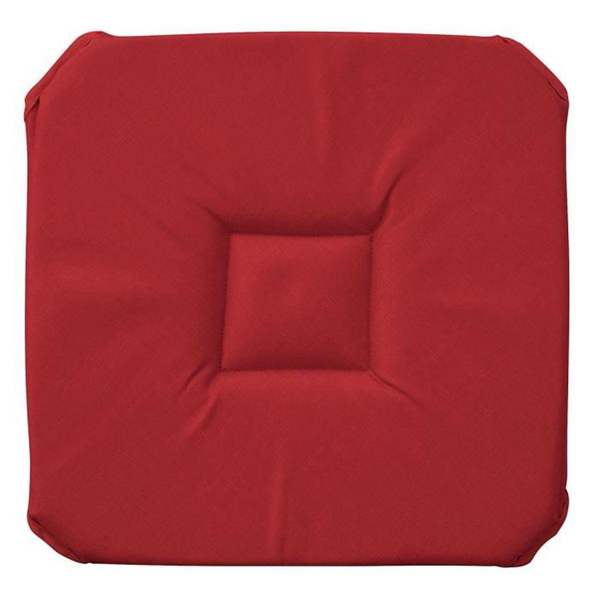 Galette de chaise unie anti taches rabat rouge achat for Galette de chaise 4 rabats