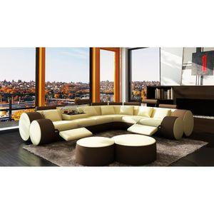 canape beige marron achat vente canape beige marron pas cher cdiscount. Black Bedroom Furniture Sets. Home Design Ideas