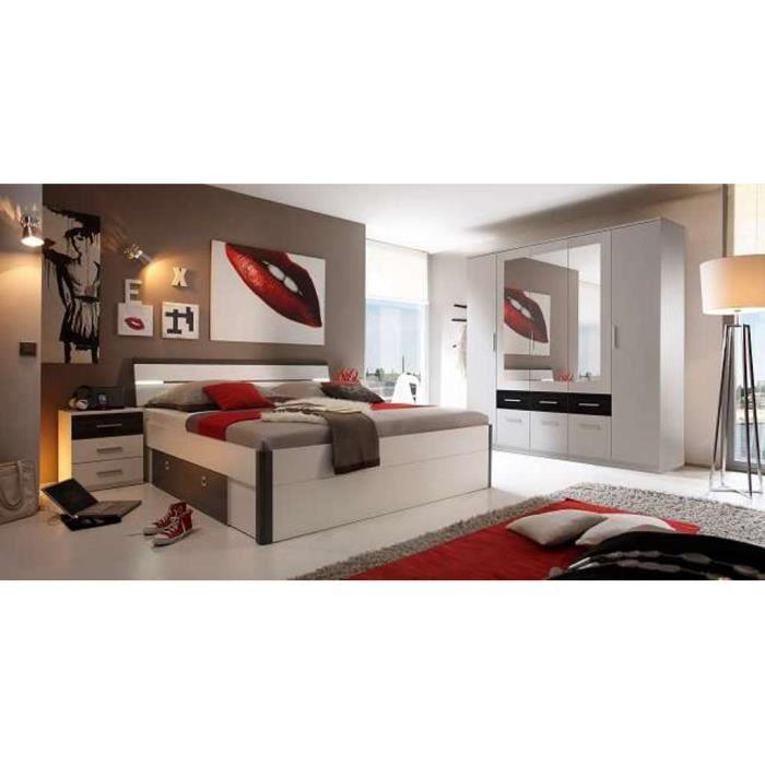chambre coucher 2 personnes avec led au lit armoire 5. Black Bedroom Furniture Sets. Home Design Ideas