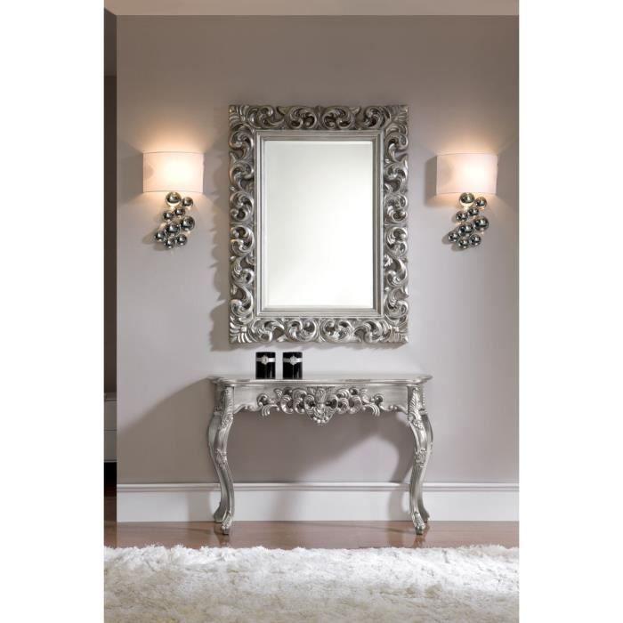 Miroir baroque rectangulaire plata achat vente for Miroir rectangulaire argent
