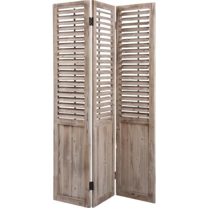 paravent en bois vieilli 3 panneaux persiennes mobiles achat vente paravent cdiscount. Black Bedroom Furniture Sets. Home Design Ideas