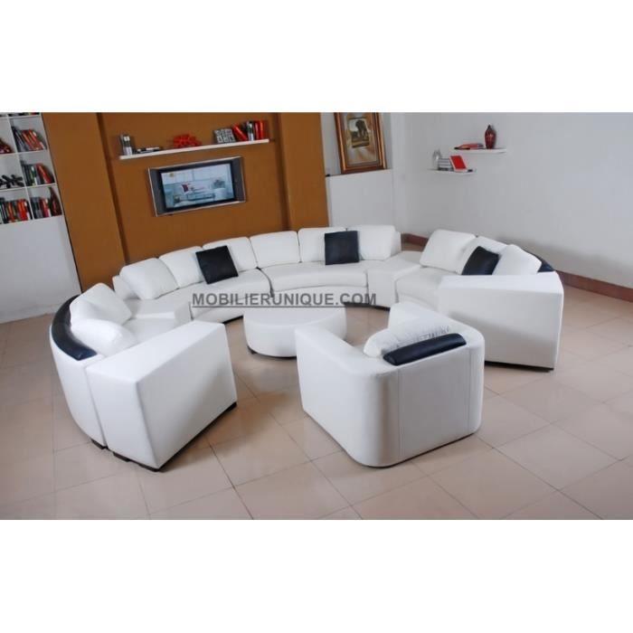 canap rond en cuir italien fleur blanc et noir achat vente salon complet cuir chrome. Black Bedroom Furniture Sets. Home Design Ideas
