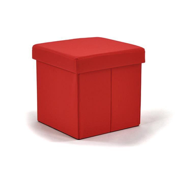 lot de 2 poufs coffres pliants rouge smile achat vente. Black Bedroom Furniture Sets. Home Design Ideas