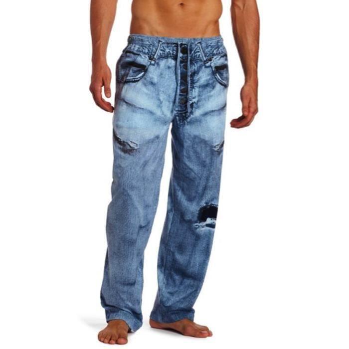 pantalon homme jean bleu detente pyjama interieur bleu. Black Bedroom Furniture Sets. Home Design Ideas