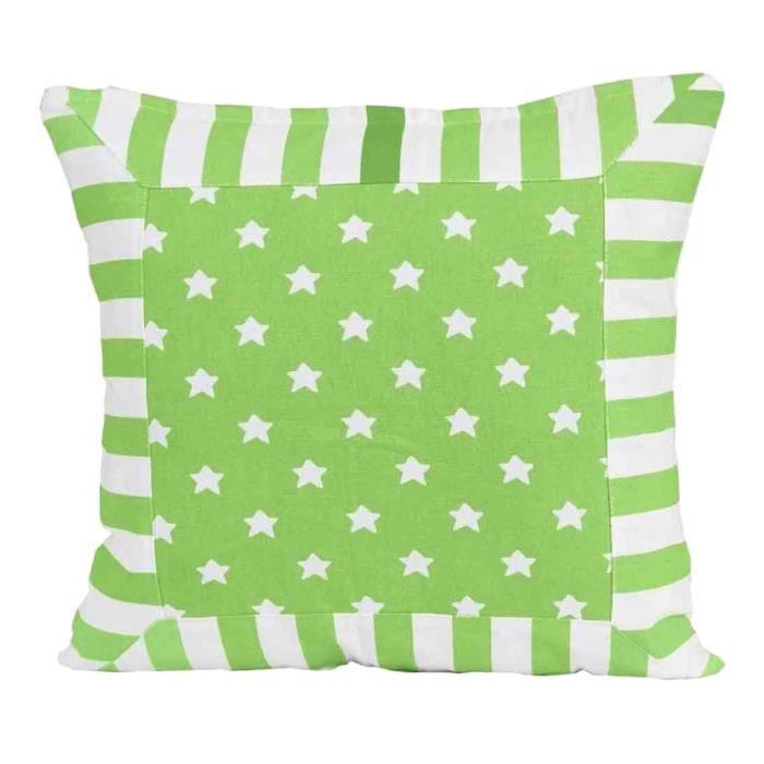 Coussin d houssable vert rayures et toiles 60 x 60 cm for Housse de coussin 40 x 60