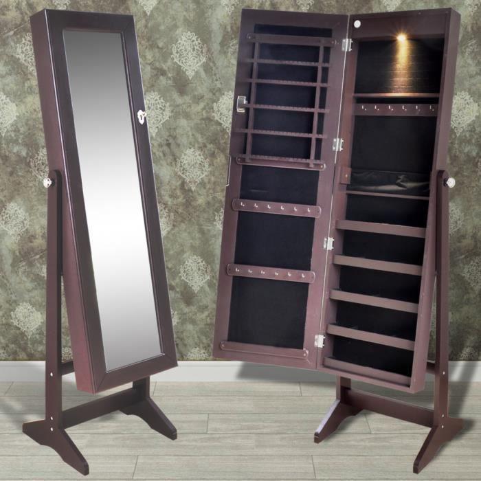 armoire bijoux debout de chambre avec miroir et clairage led l 39 int rieur brun achat. Black Bedroom Furniture Sets. Home Design Ideas
