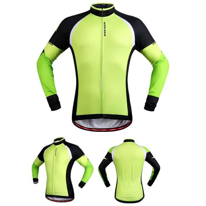 vert maillot cycliste manche longue pour l 39 hiver chaleureux vetement cyclisme homme veste de. Black Bedroom Furniture Sets. Home Design Ideas
