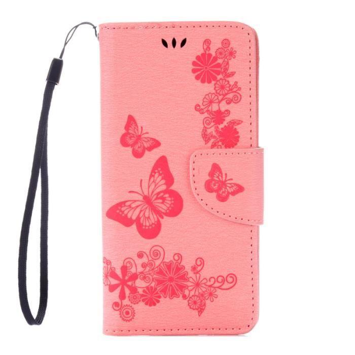 housse etui pour sony xperia e5 pink motif papillon. Black Bedroom Furniture Sets. Home Design Ideas