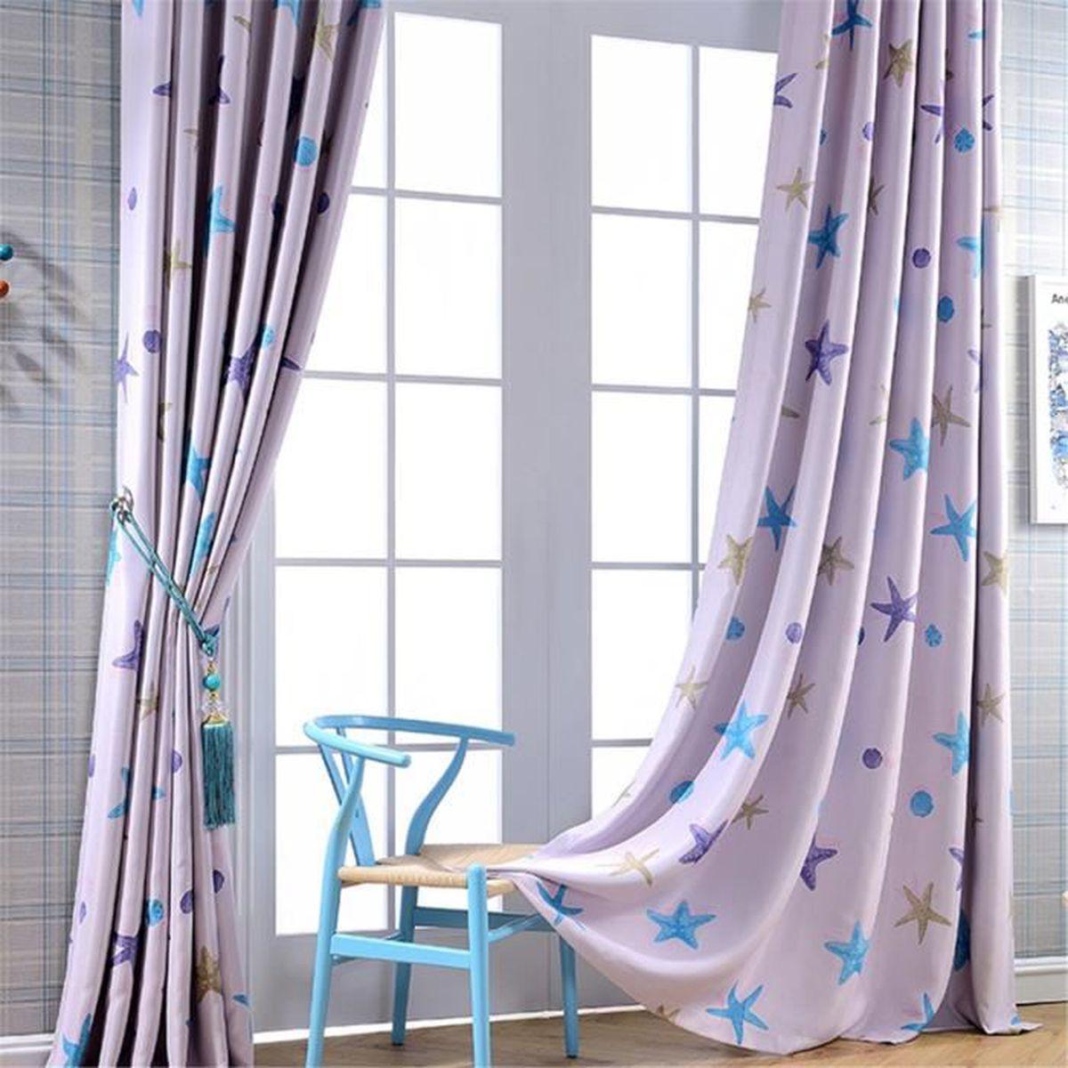 rideaux occultants toiles de mer motif rideau polyester ombre tissu enfants d coration chambre. Black Bedroom Furniture Sets. Home Design Ideas