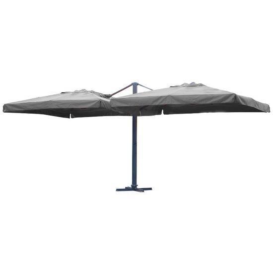 parasol double coloris gris pied central carr achat vente parasol parasol double coloris. Black Bedroom Furniture Sets. Home Design Ideas