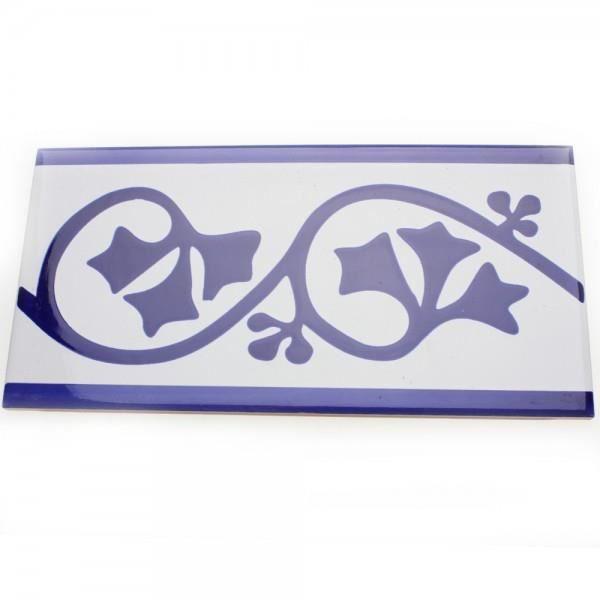 Frise listel printania bleue 20 x 10cm achat vente for Frise murale carrelage