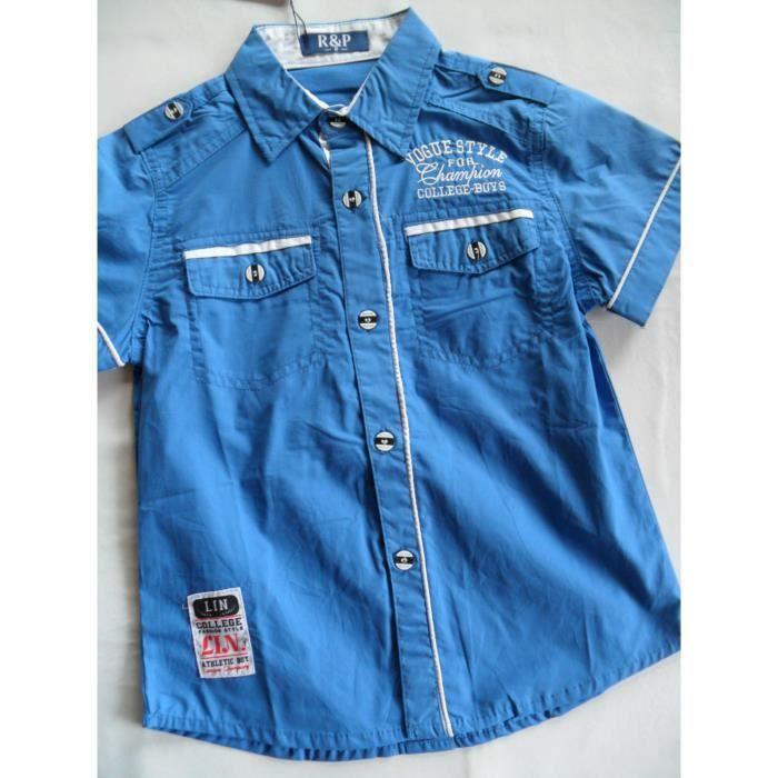 chemise enfant gar on manches courtes bleu roi achat vente chemise chemisette cadeaux de. Black Bedroom Furniture Sets. Home Design Ideas