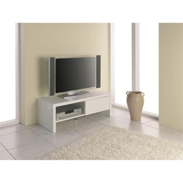 meuble tv en mdf coloris blanc l110 x p49 x h3 achat vente meuble tv meuble tv en mdf. Black Bedroom Furniture Sets. Home Design Ideas