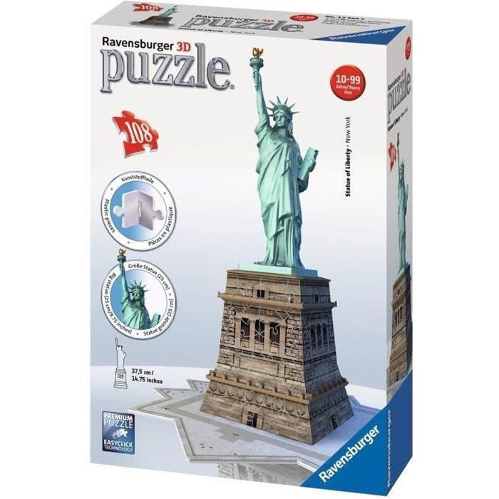ravensburger puzzle 3d statue de la libert 108 pi ces. Black Bedroom Furniture Sets. Home Design Ideas