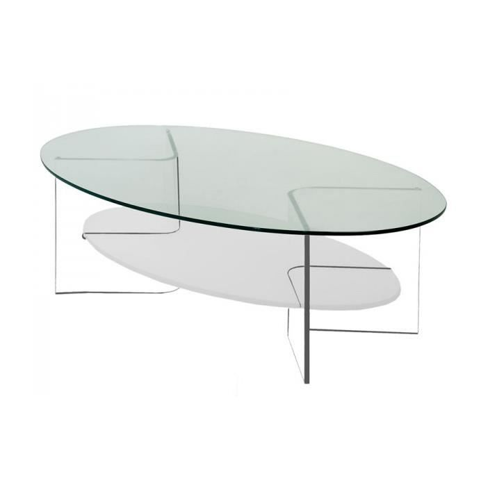 Table Basse Table Basse Ovale En Verre Modulable Table