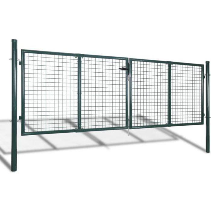 Vidaxl porte portail de cl ture en grillage galvanis e 300 for Porte de cloture