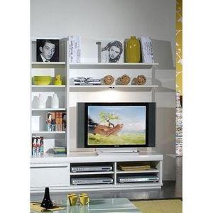 Etagere laque blanc brillant achat vente etagere laque for Meuble tv 100 cm blanc laque