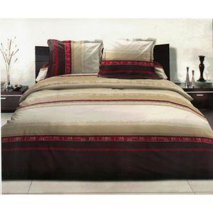 parure de lit beige achat vente parure de lit beige pas cher cdiscount. Black Bedroom Furniture Sets. Home Design Ideas