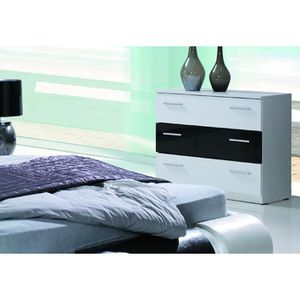 commode noir et blanc laque achat vente commode noir. Black Bedroom Furniture Sets. Home Design Ideas