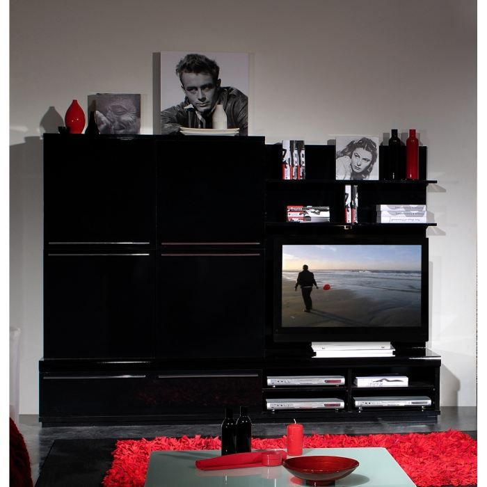black fond d 39 tag re tv laqu noir achat vente meuble. Black Bedroom Furniture Sets. Home Design Ideas