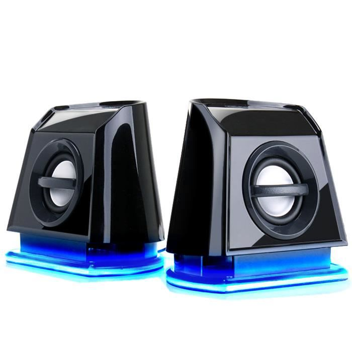 enceinte haut parleur portable pc led bleus prix pas cher cdiscount. Black Bedroom Furniture Sets. Home Design Ideas