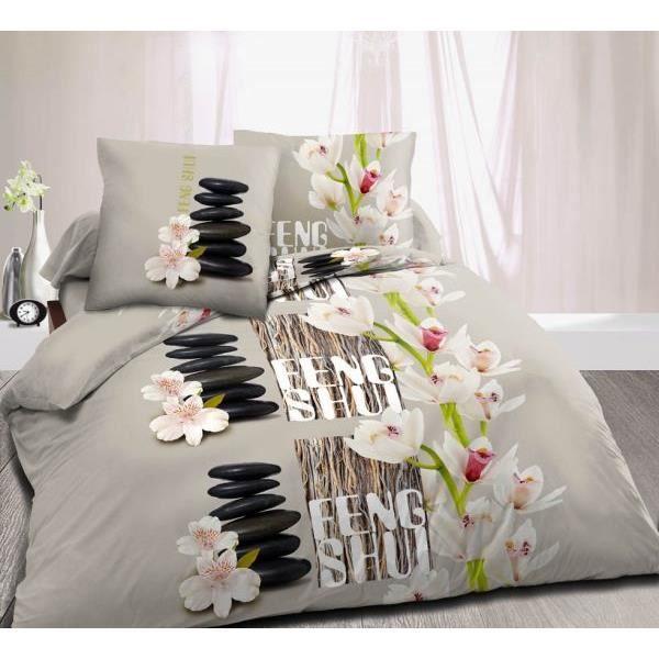 housse de couette 220x240 cm microfibre feng shui taupe 2 taies d oreiller 63x63 cm 100. Black Bedroom Furniture Sets. Home Design Ideas