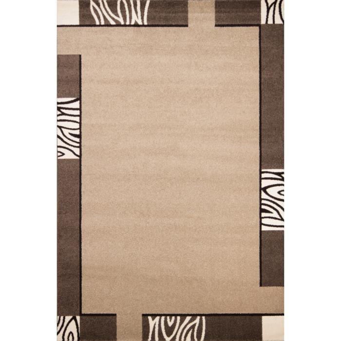 Tapis moderne coloris beige et marron achat vente tapis cdiscount Beaux tapis contemporains
