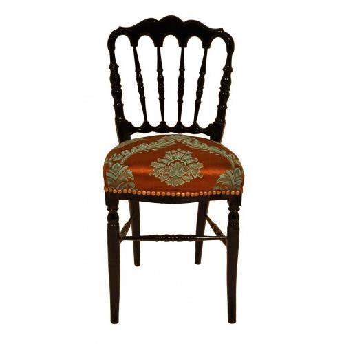 chaise napoleon iii avec tissu imprim marron e achat vente chaise cdiscount. Black Bedroom Furniture Sets. Home Design Ideas