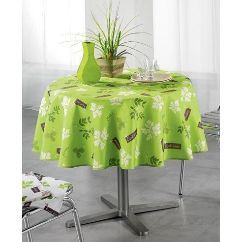 Nappe ronde verte table de cuisine - Nappe cuisine plastique ...