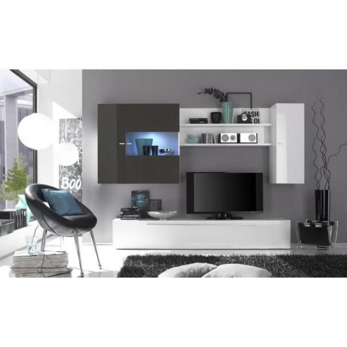 composition murale tv design laqu gris et blanc achat. Black Bedroom Furniture Sets. Home Design Ideas