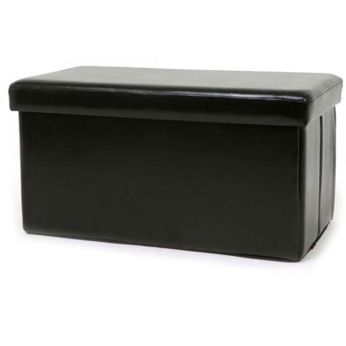 banquette assise pouf de rangement pliable simili cuir noir 77 cm achat vente banquette. Black Bedroom Furniture Sets. Home Design Ideas