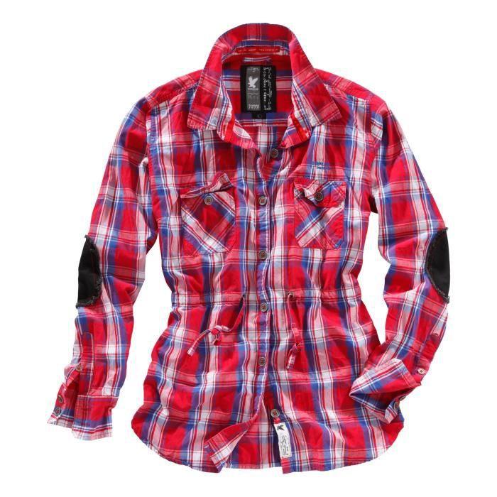 chemise femme carreaux trooper c rouge rouge achat vente chemise de sport cdiscount. Black Bedroom Furniture Sets. Home Design Ideas