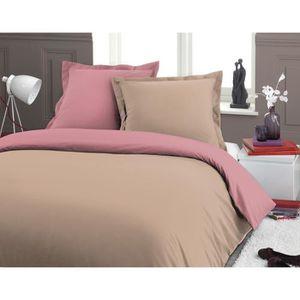 housse de couette 220x240 bicolore achat vente housse de couette 220x240 bicolore pas cher. Black Bedroom Furniture Sets. Home Design Ideas