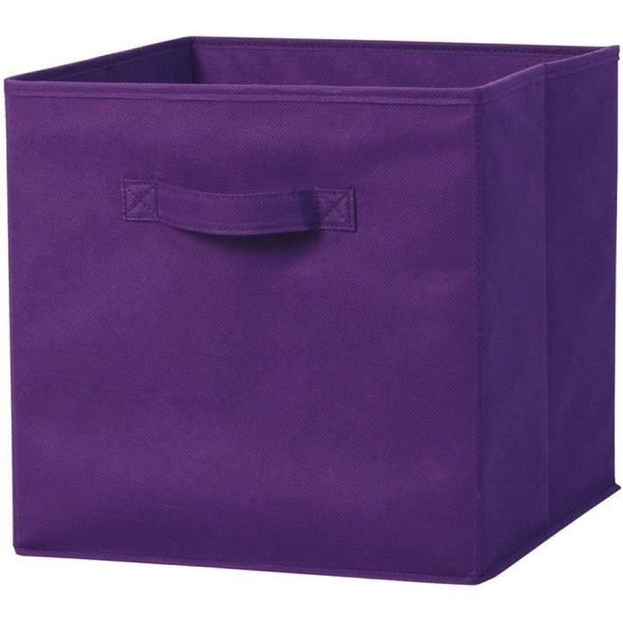lot de 3 tiroir de rangement tissu lin cube de rangement couleur violet taille 31x31x31 cm. Black Bedroom Furniture Sets. Home Design Ideas