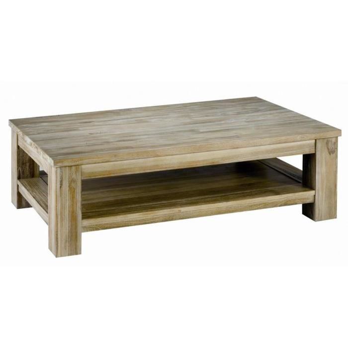 Table basse rectangulaire en teck massif teint achat for Table basse teck massif