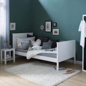 Lit enfant en bois massif simple blanc 90 x 200 cm achat vente structure - Lit pin massif blanc 90 ...