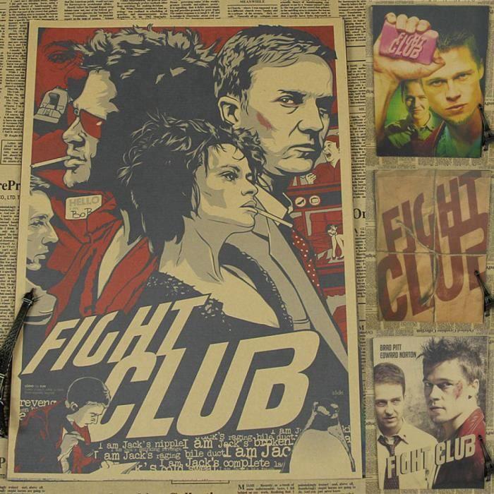 Vintage Papier Rétro Anime Affiche - Fight Club Affiche Brad Pitt ...