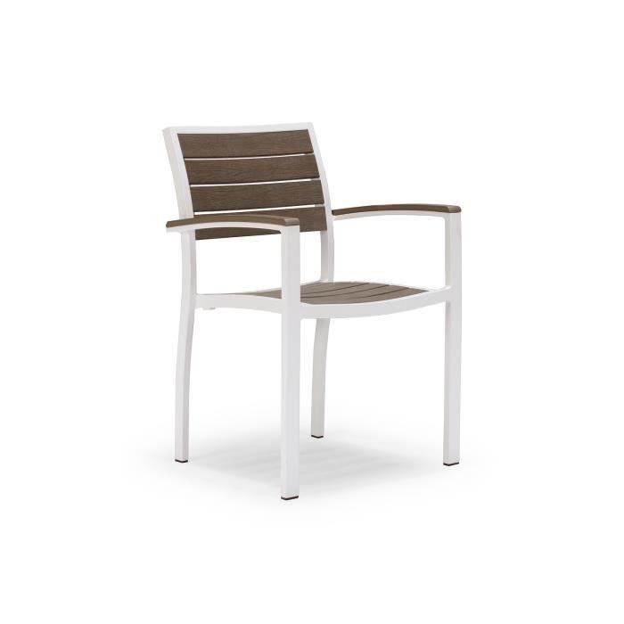 Chaise de jardin zinnia en plastique blanc et marron for Chaise longue jardin plastique blanc