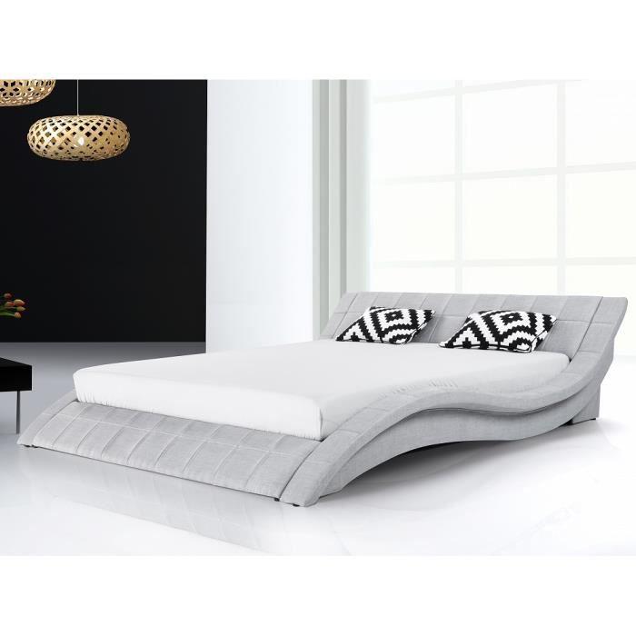 lit design en tissu lit double 180x200 cm gris sommier inclus vichy achat vente. Black Bedroom Furniture Sets. Home Design Ideas