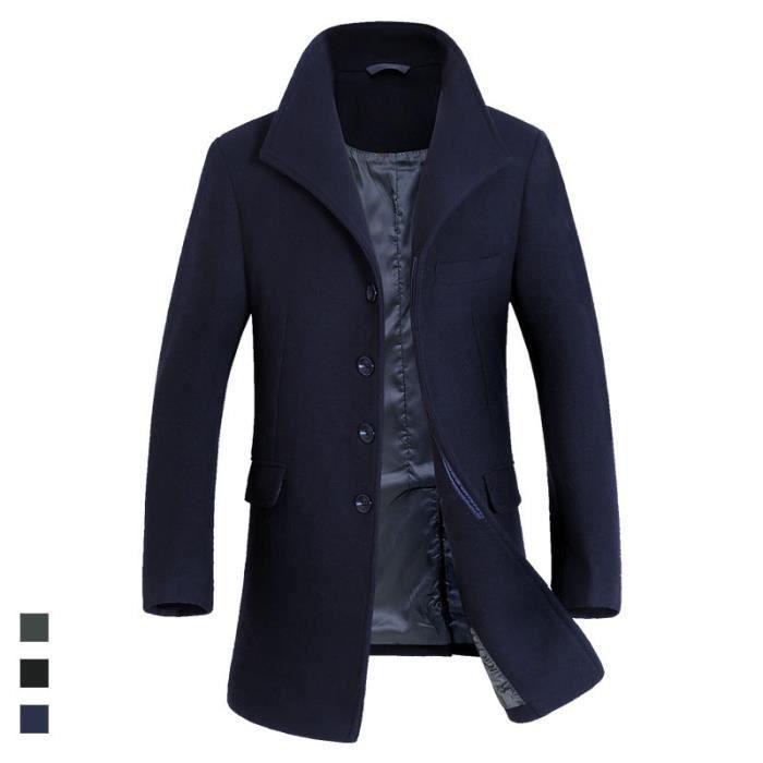 manteau en laine homme caban longues manteau homme trench. Black Bedroom Furniture Sets. Home Design Ideas