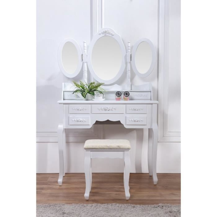 coiffeuse blanche g creme avec si ge et miroir achat. Black Bedroom Furniture Sets. Home Design Ideas