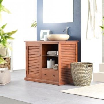Meuble simple vasque en acajou persiennes 1 por achat for Meuble salle de bain sans porte