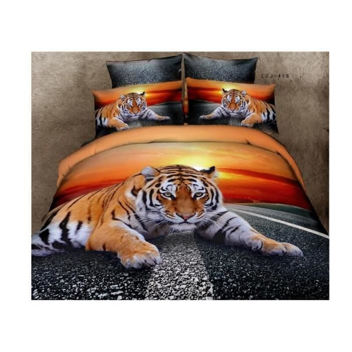 parure de lit tigre des couchers du soleil coton 200 230 cm 3d effet 4 piece achat vente. Black Bedroom Furniture Sets. Home Design Ideas
