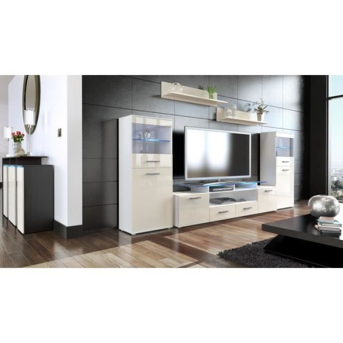 living enti rement laqu blanc et cr me avec led achat. Black Bedroom Furniture Sets. Home Design Ideas