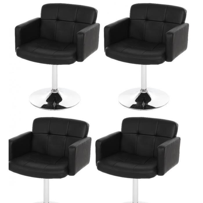 lot de 4 fauteuils chaises de salle manger simili cuir noir pivotant cds04156 achat vente. Black Bedroom Furniture Sets. Home Design Ideas