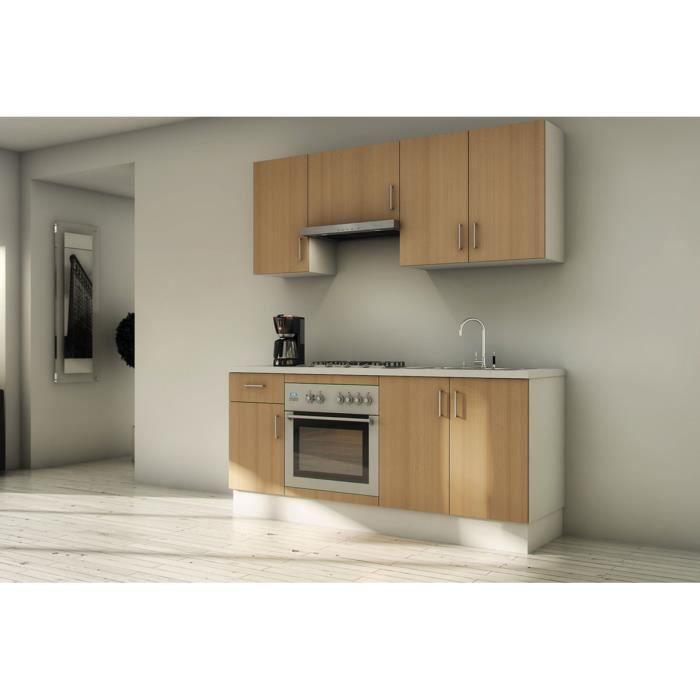 Pack cuisine compl te sudoe h tre 180cm meubles en kit 7 for Kit meuble cuisine