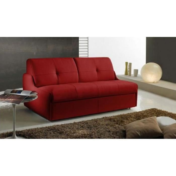 canap lit compact linea convertible syst me rapido couchage 140 195 12cm cuir co rouge achat. Black Bedroom Furniture Sets. Home Design Ideas