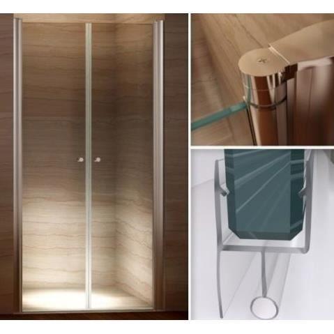 Porte de douche 100 104 x 185cm en verre de s curit transparent achat vente porte de Porte de douche 100 cm
